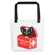 Load image into Gallery viewer, First Aid Kitten | White | Tote Bag-tote bags-Black-Eggenland