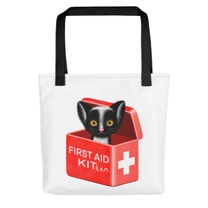 First Aid Kitten | White | Tote Bag-tote bags-Black-Eggenland