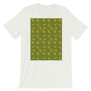 Flying Birds Pattern | Green | Short-Sleeve Unisex T-Shirt-t-shirts-Ash-S-Eggenland