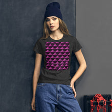 Load image into Gallery viewer, Paper Hats Pattern | Dark Violet | Women's Short-Sleeve T-Shirt-t-shirts-Eggenland