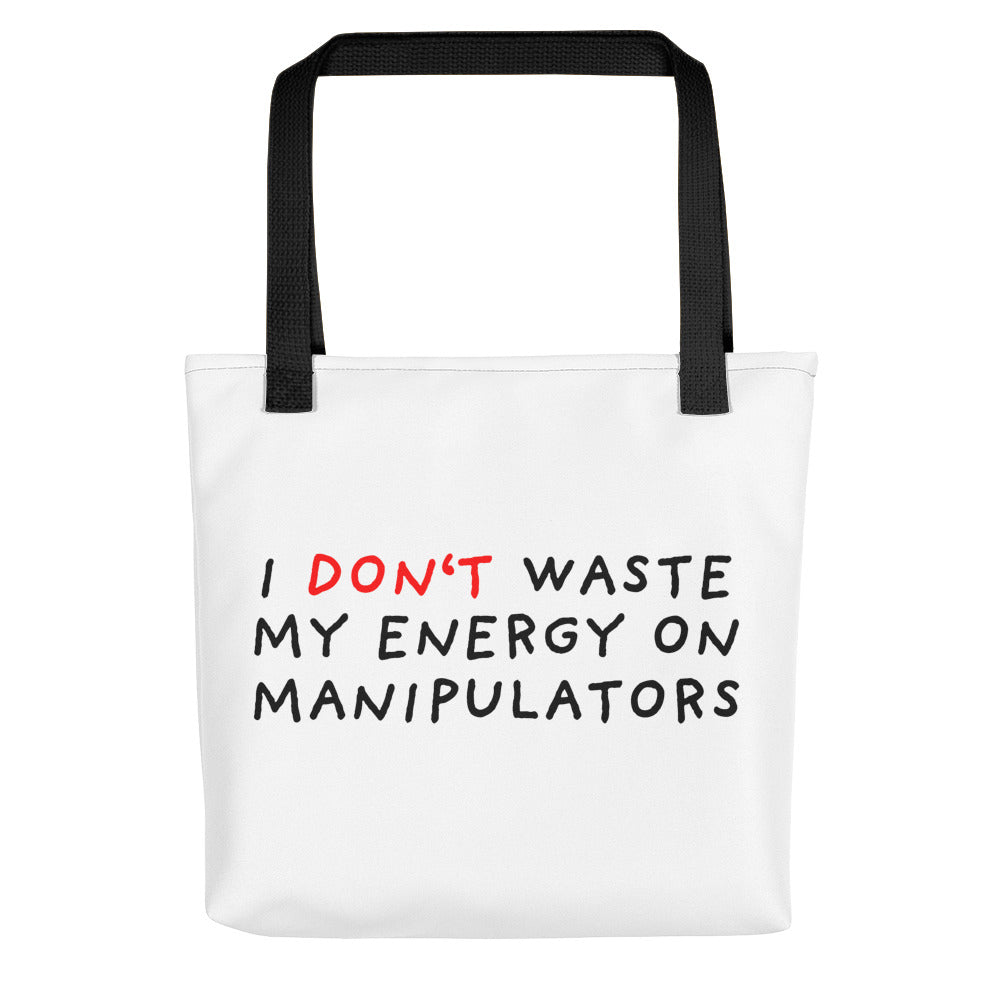 Don't Waste Energy | Tote Bag-tote bags-Black-Eggenland