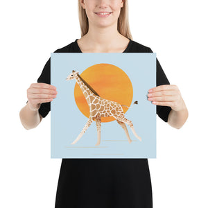 Giraffe and Sun | Blue | Poster-posters-14×14-Eggenland