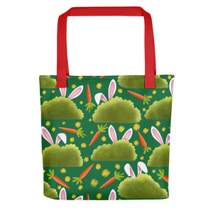 Rabbits and Carrots | Green | Tote Bag-tote bags-Red-Eggenland