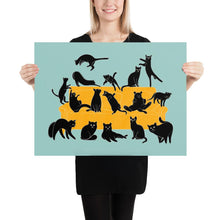 Load image into Gallery viewer, Black Cats Party | Blue | Illustration | Poster-posters-18×24-Eggenland