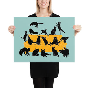 Black Cats Party | Blue | Illustration | Poster-posters-18×24-Eggenland
