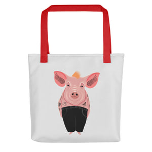 Cool Pig with Tattoos | Light Grey | Tote Bag-tote bags-Red-Eggenland