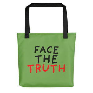 Face the Truth | Green | Tote Bag-tote bags-Black-Eggenland