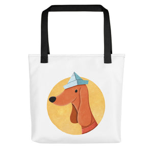 Dog with Paper Hat | White | Tote Bag-tote bags-Black-Eggenland