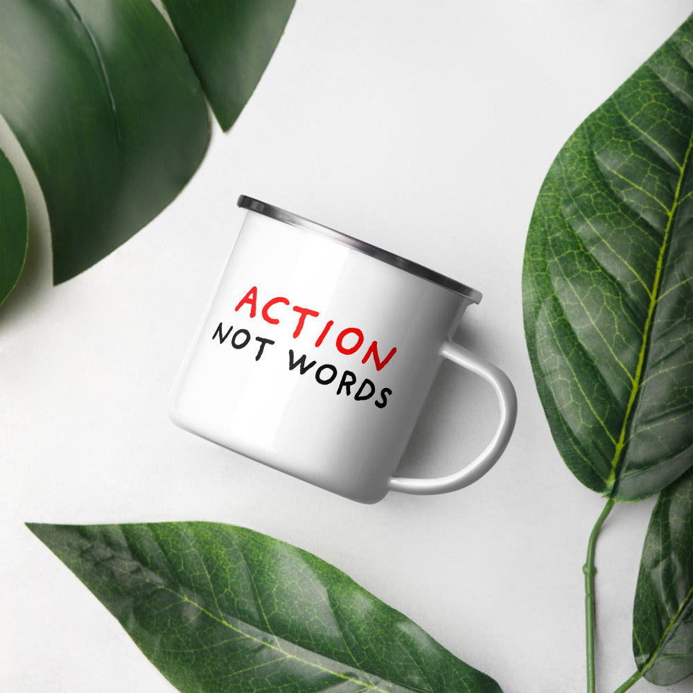 Action Not Words | Enamel Mug-enamel mugs-Eggenland