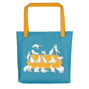 Cats Party | Blue | Tote Bag-tote bags-Yellow-Eggenland