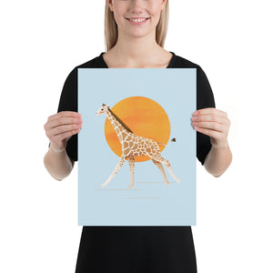 Giraffe and Sun | Blue | Poster-posters-12×16-Eggenland