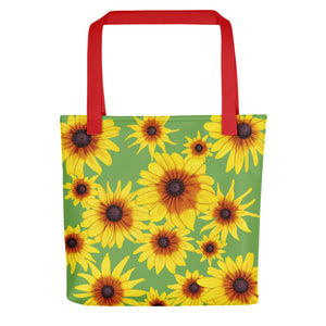 Blooming Flowers | Green | Tote Bag-tote bags-Red-Eggenland