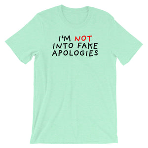 Fake Apologies | Short-Sleeve Unisex T-Shirt-t-shirts-Heather Mint-S-Eggenland