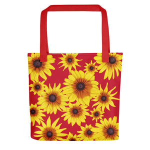 Blooming Flowers | Red | Tote Bag-tote bags-Red-Eggenland