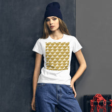 Load image into Gallery viewer, Paper Hats Pattern | Golden | Women's Short-Sleeve T-Shirt-t-shirts-Eggenland