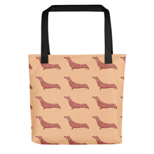 Load image into Gallery viewer, Dachshund Dog Pattern | Cream | Tote Bag-tote bags-Black-Eggenland