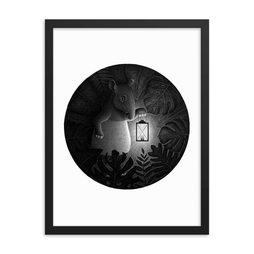 Tapirs Are Night Creatures | Illustration | Framed Poster-framed posters-Eggenland
