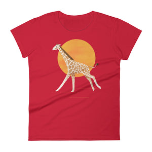 Giraffe and Sun | Women's Short-Sleeve T-Shirt-t-shirts-Red-S-Eggenland