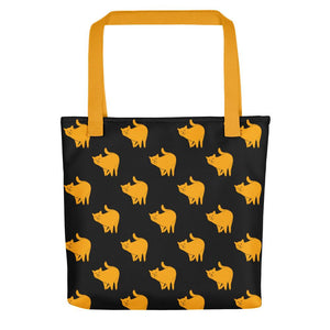 Yellow Cat Pattern | Black | Tote Bag-tote bags-Yellow-Eggenland