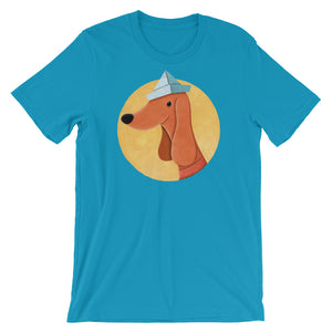 Dog With Newspaper Hat | Short-Sleeve Unisex T-Shirt-t-shirts-Aqua-S-Eggenland