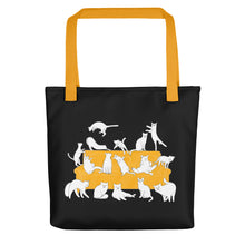 Load image into Gallery viewer, Cat Party | Black | Tote Bag-tote bags-Yellow-Eggenland