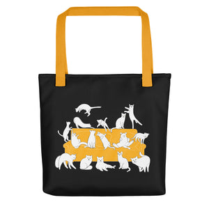 Cat Party | Black | Tote Bag-tote bags-Yellow-Eggenland