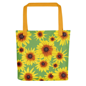 Blooming Flowers | Green | Tote Bag-tote bags-Yellow-Eggenland