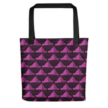 Load image into Gallery viewer, Newspaper Hats Pattern | Dark Pink | Tote Bag-tote bags-Black-Eggenland