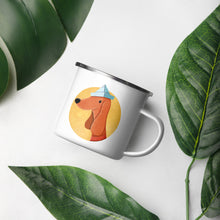 Load image into Gallery viewer, Dog with Paper Hat | Enamel Mug-enamel mugs-Eggenland