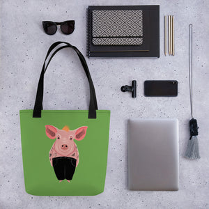 Cool Pig with Tattoos | Green | Tote Bag-tote bags-Eggenland