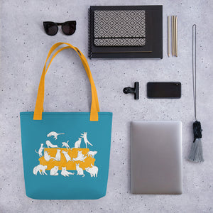 Cats Party | Blue | Tote Bag-tote bags-Eggenland