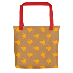 Yellow Cat Pattern | Light Brown | Tote Bag-tote bags-Red-Eggenland