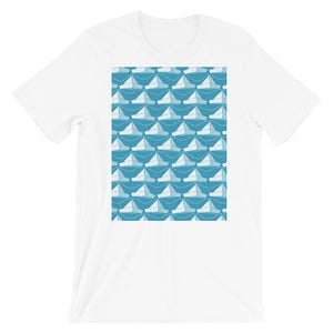 Paper Hats Pattern | Blue | Short-Sleeve Unisex T-Shirt-t-shirts-White-S-Eggenland