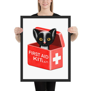 First Aid Kitten | Illustration | Framed Poster-framed posters-Black-18×24-Eggenland