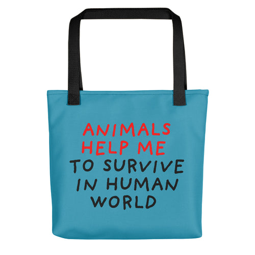 Animals Help Me | Blue | Tote Bag-tote bags-Black-Eggenland