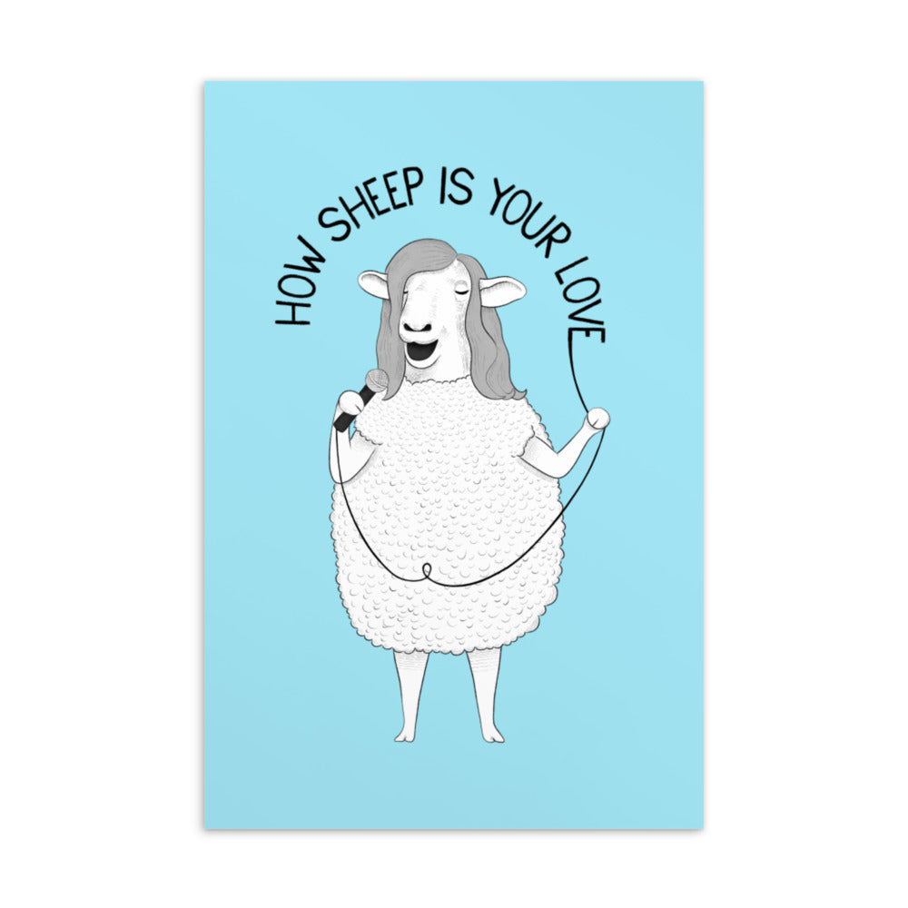 How Sheep Is Your Love Postcard | Blue