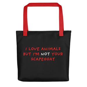 No Scapegoat | Black | Tote Bag-tote bags-Red-Eggenland