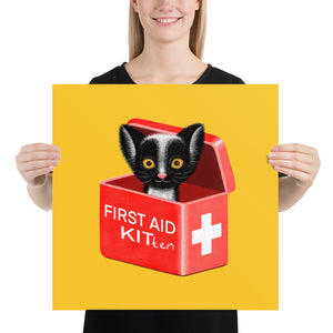 First Aid Kitten | Illustration | Yellow | Poster-posters-18×18-Eggenland