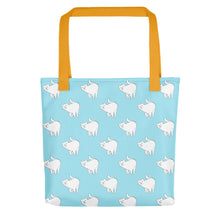 Load image into Gallery viewer, Cute Cat Pattern | Light Blue and White | Tote Bag-tote bags-Yellow-Eggenland