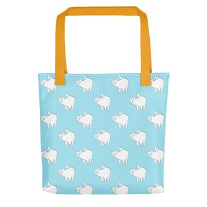 Cute Cat Pattern | Light Blue and White | Tote Bag-tote bags-Yellow-Eggenland