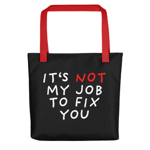 Not My Job | Black | Tote Bag-tote bags-Red-Eggenland