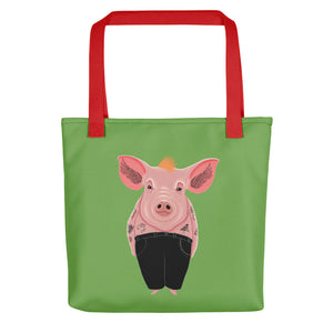 Cool Pig with Tattoos | Green | Tote Bag-tote bags-Red-Eggenland