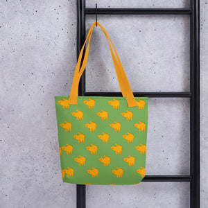 Yellow Cat Pattern | Green | Tote Bag-tote bags-Eggenland
