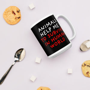 Animals Help Me | Black | Mug-mugs-Eggenland
