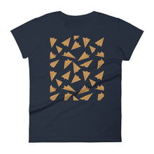 Load image into Gallery viewer, Paper Planes Pattern | Golden | Women's Short-Sleeve T-Shirt-t-shirts-Navy-S-Eggenland