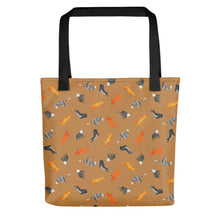 Load image into Gallery viewer, Funky Cats Pattern | Light Brown | Tote Bag-tote bags-Black-Eggenland