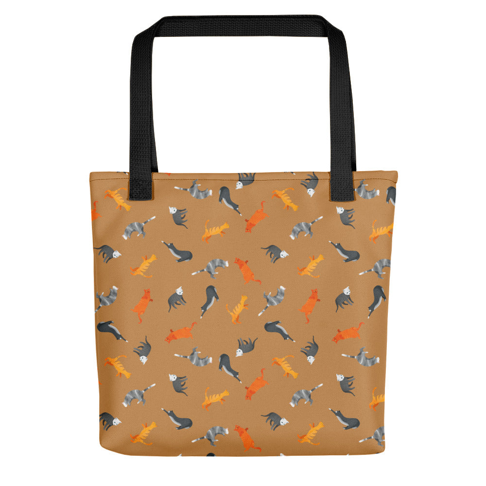 Funky Cats Pattern | Light Brown | Tote Bag-tote bags-Black-Eggenland