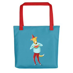 Dog with Watermelon | Blue | Tote Bag-tote bags-Red-Eggenland