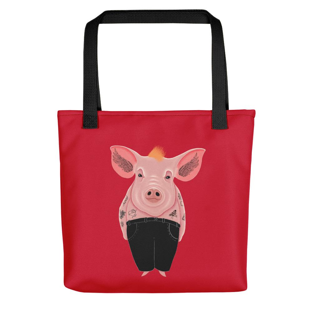 Cool Pig with Tattoos | Red | Tote Bag-tote bags-Black-Eggenland