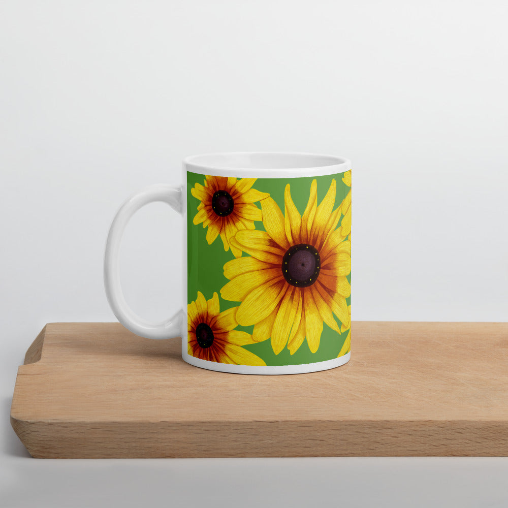 Blooming Flowers | Green | Mug-mugs-11oz-Eggenland